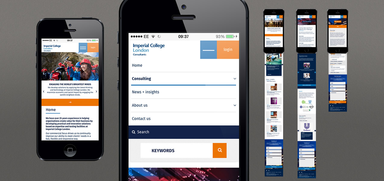 Imperial College London - Responsive website and staff login for Imperial Consultants