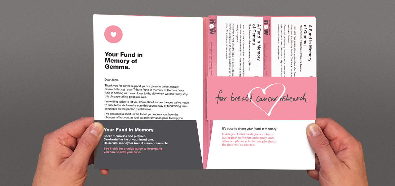 Breast Cancer Now - Tribute Giving Booklet & welcome pack