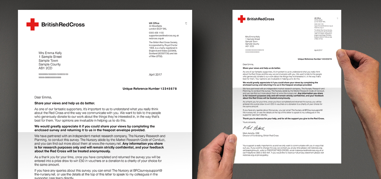 British Red Cross - Supporter Survey Mailing