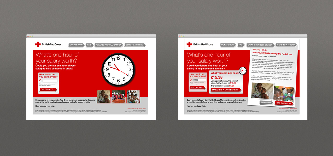 British Red Cross - Payroll giving website campaign