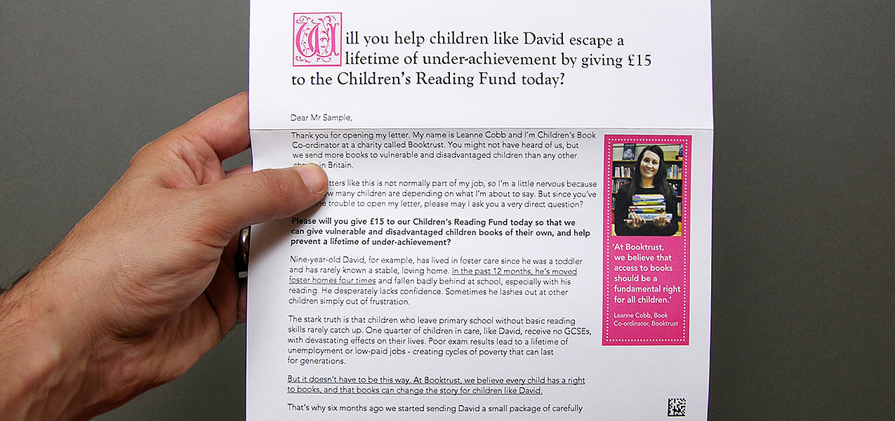 Cold Acquisition Direct Mail For Booktrust